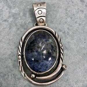 Huge Sterling Silver 980 Sodalite Pendant Artisan